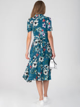 Load image into Gallery viewer, Floral Print Bow Detail Tea Dress, Teal