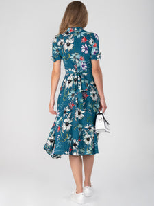Floral Print Bow Detail Tea Dress, Teal