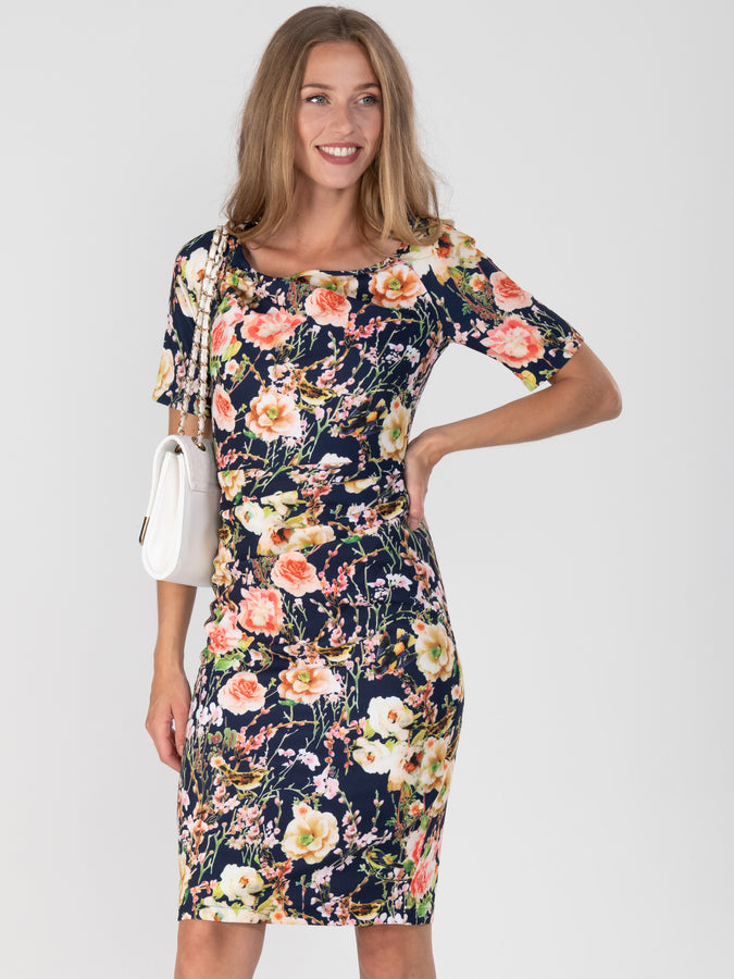 Half Sleeve Printed Shift Dress