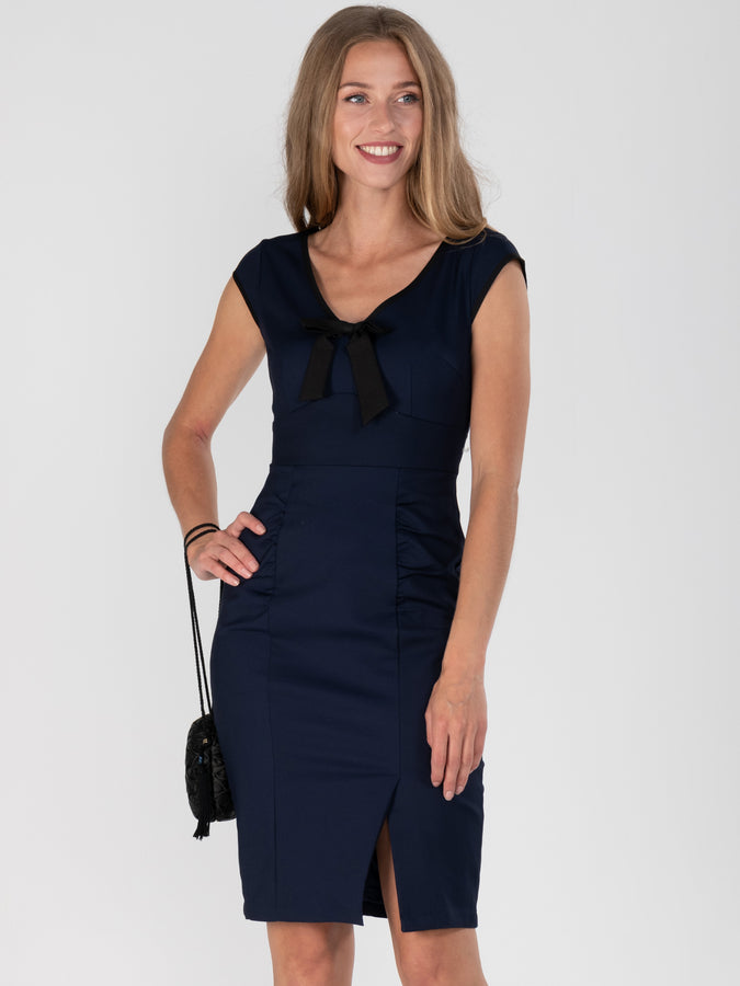 V Neck Contrast Bow Trim Dress, Navy