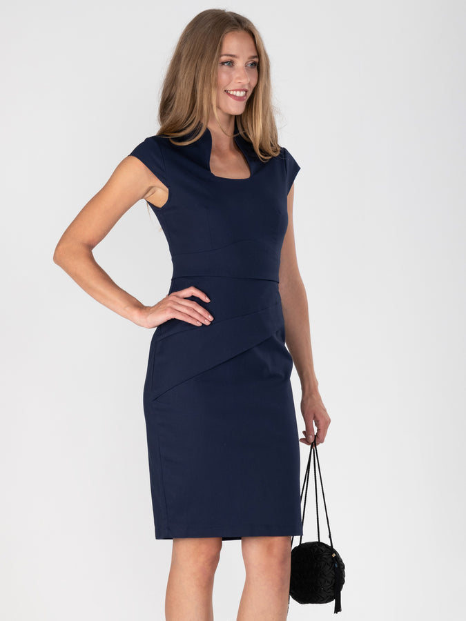 Retro Neckline Bodycon Dress