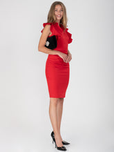 Load image into Gallery viewer, Ruffle Shoulder Bodycon Dress