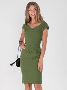 Crossover Ruched Dress, Olive Green