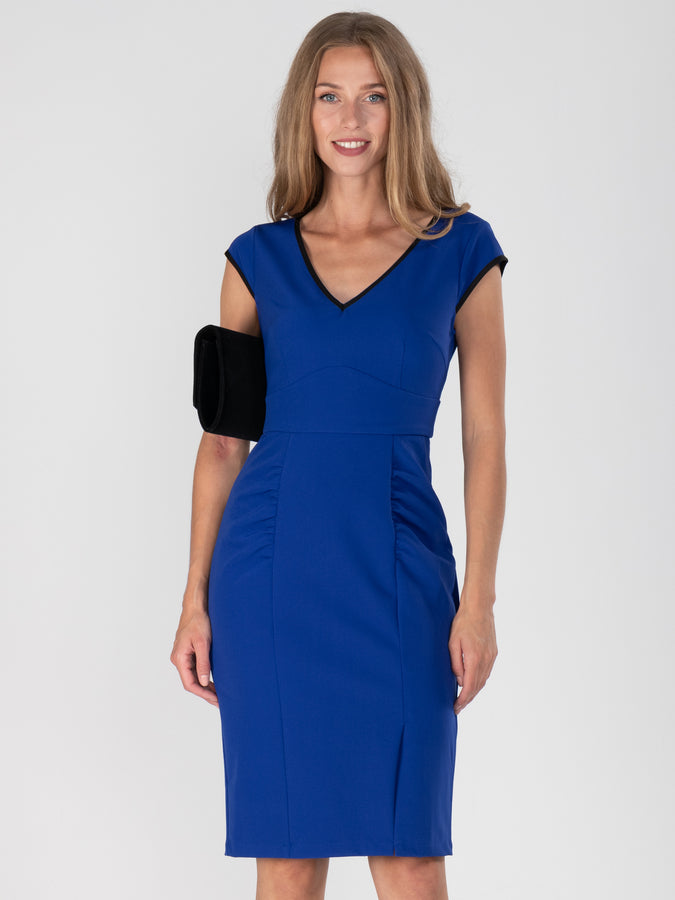 Jolie Moi - Royal Blue Trimmed V Neck Cap Sleeves Bodycon Dress,Royal Blue