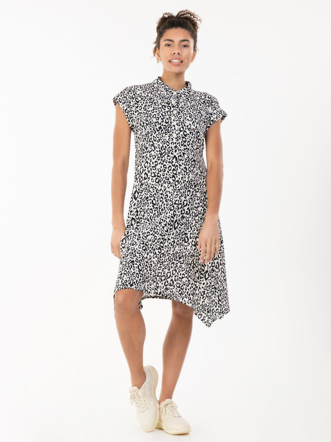 Elle Viscose Hanky Hem Tunic Dress, White/Black Animal