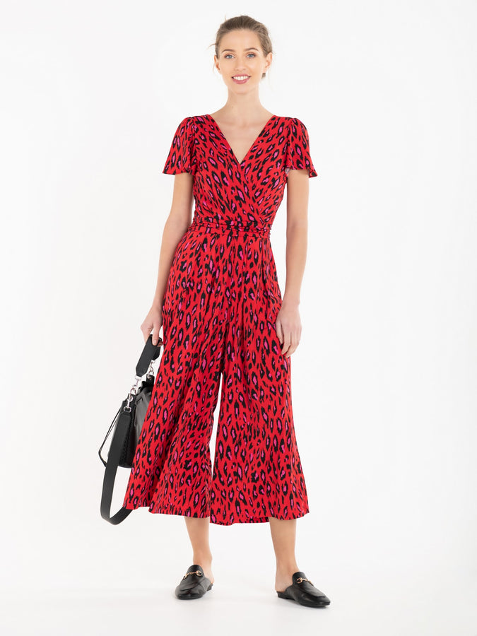 Cap Sleeve Culotte Jumpsuit, Red Animal