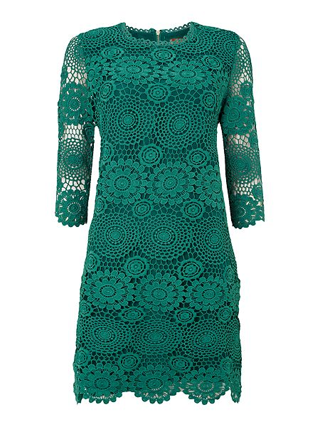 3/4 Sleeve Crochet Lace Tunic, Green