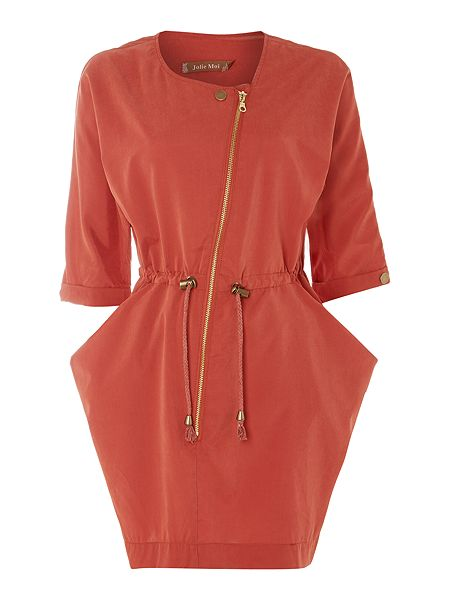 Asymmetric Zip Front Tunic, Brick Red