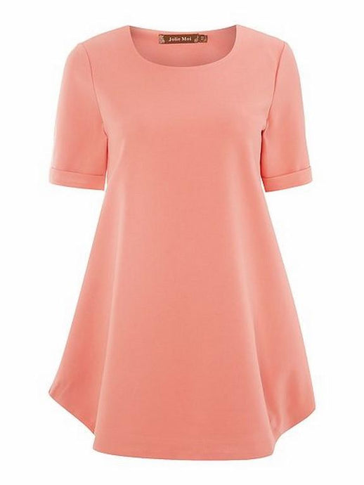 Structured Short Sleeve Tunic, Coral