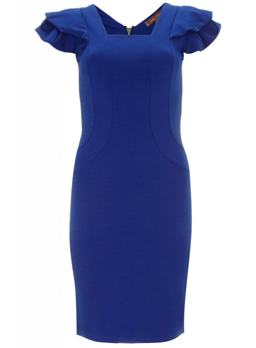 Fold Detail Structured Shoulder Dress, Royal Blue