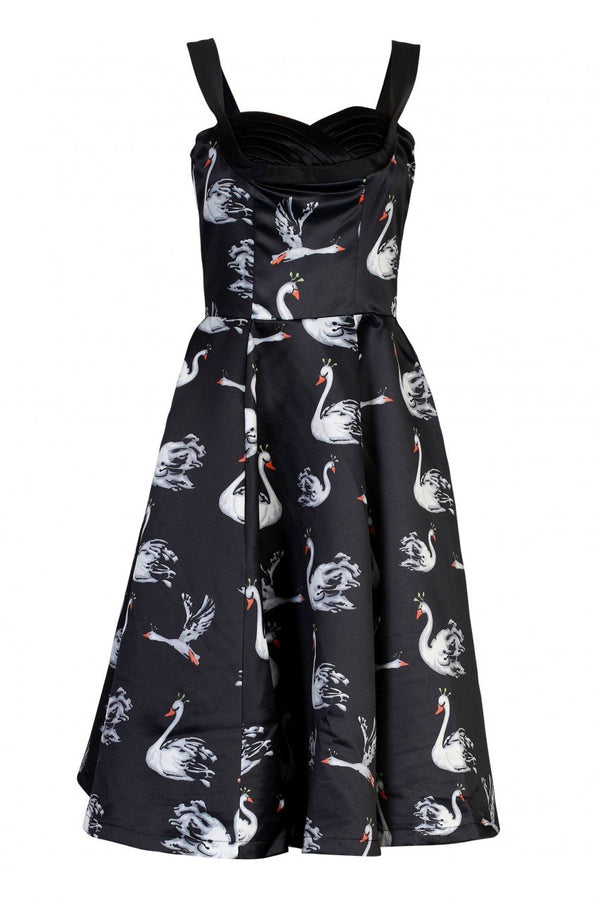 Retro Swan Printed Satin Prom Dress, Black Swan