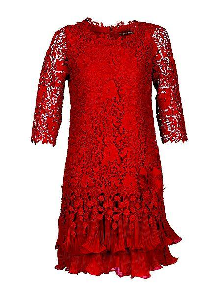 Jolie Moi Sleeved Crochet Lace Dress. RED
