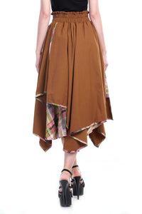 Asymmetric Skirt, Brown