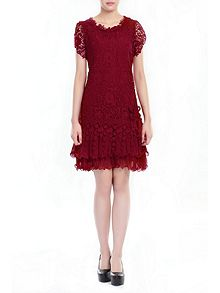 Crochet Lace Cap Sleeve Layered Dress, Red