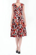 Load image into Gallery viewer, Wrap Front Retro Pattern 50's Dress