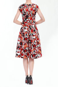 Wrap Front Retro Pattern 50's Dress