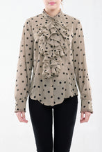 Load image into Gallery viewer, Polka Print Ruffle Front Blouse