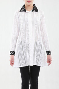 Contrast Collar A-line Long Shirt - Jolie Moi Retail
