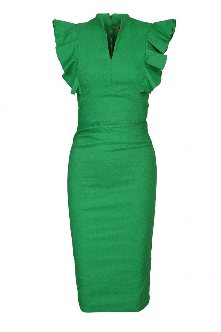 Womens Workwear Ruffle Shoulder Bodycon Dress