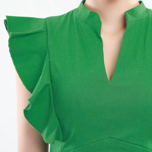 Womens Workwear Ruffle Shoulder Bodycon Dress Detail