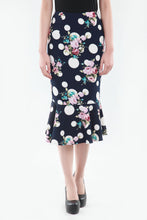 Load image into Gallery viewer, Vintage Fishtail Midi Skirt, Navy