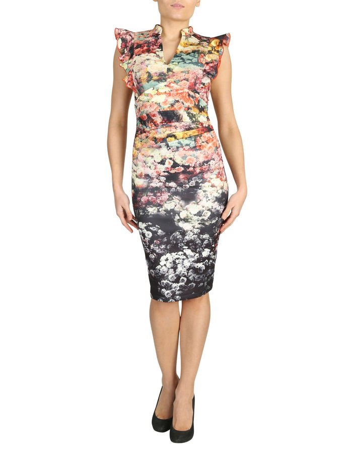 Ruffle Shoulder Print Bodycon Dress