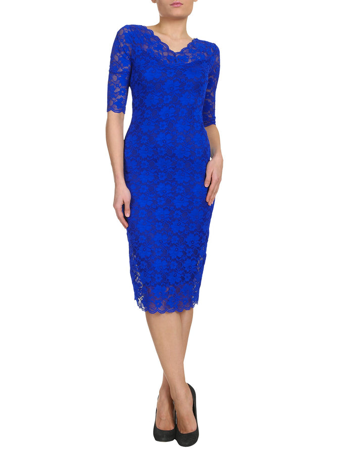 V Neck 3/4 Sleeve Lace Dress