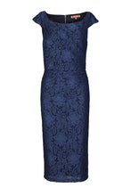 Load image into Gallery viewer, Lace Scoop Neck Ruched Bodycon Dress, Navy