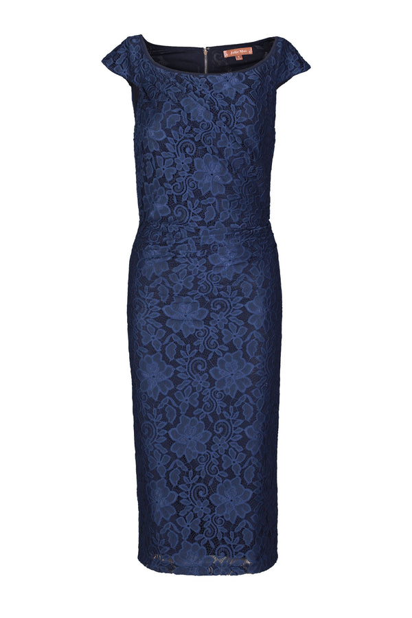 Lace Scoop Neck Ruched Bodycon Dress, Navy