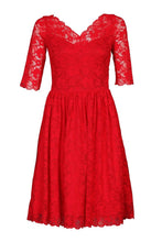 Load image into Gallery viewer, 3/4 Sleeve V Neck Lace Prom Dress, Red