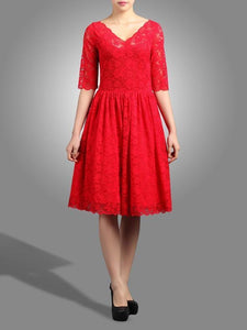 3/4 Sleeve V Neck Lace Prom Dress, Red