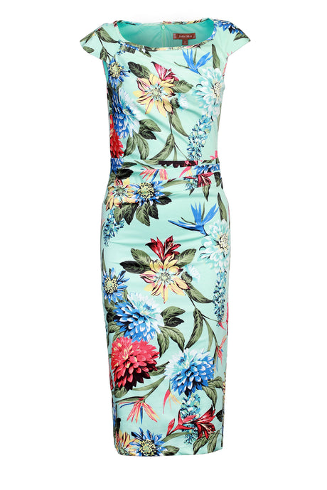 Floral Print Ruched Dress, Aqua Floral