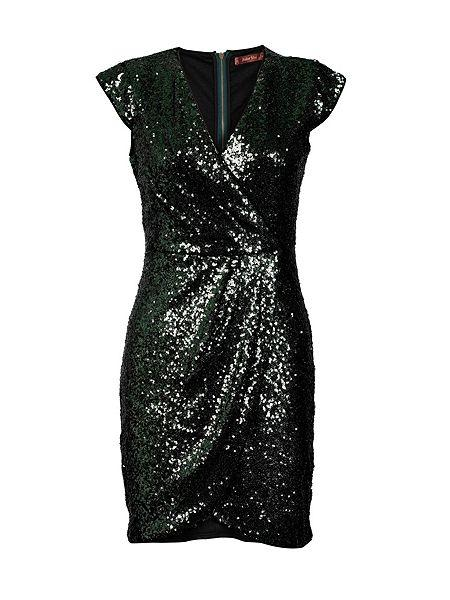 Cap Sleeve Sequin Dress Green