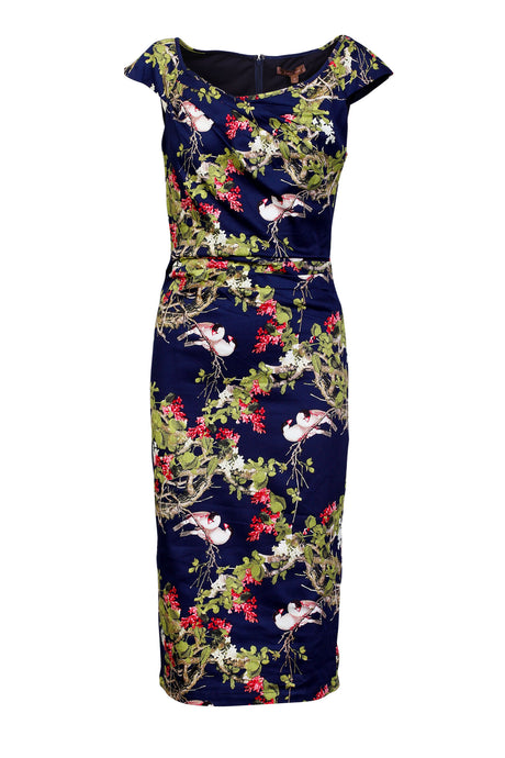 Jolie Moi Floral Print wiggle Dress, navy birds