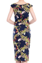 Load image into Gallery viewer, Jolie Moi Floral Print wiggle Dress, navy birds