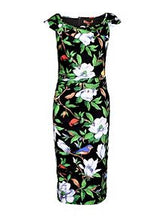 Load image into Gallery viewer, Tropical Print Ruched Dress, Black Tropical