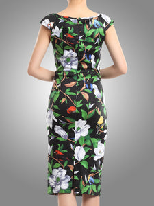 Tropical Print Ruched Dress, Black Tropical