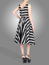 Load image into Gallery viewer, Stripe Jacquard Overlay Dress, Black Stripes