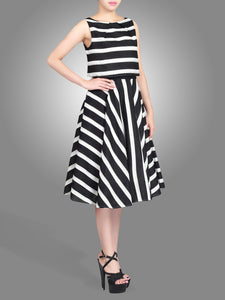 Stripe Jacquard Overlay Dress, Black Stripes