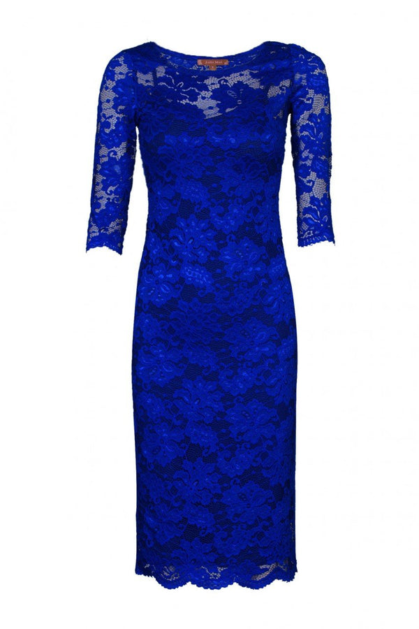 Jolie Moi Two In One Scallop Floral Lace Dress, ROYAL BLUE