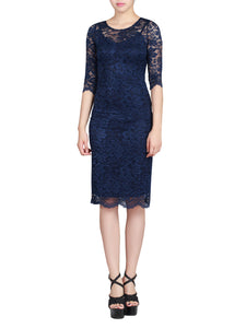 2 in 1 Lace Bodycon Dress, Navy