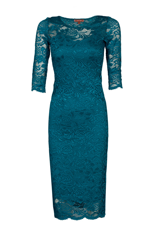 3/4 Sleeve Lace Bodycon Dress, Teal