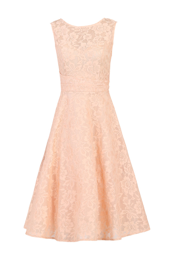 Lace Bonded Fit & Flare Dress, Mauve