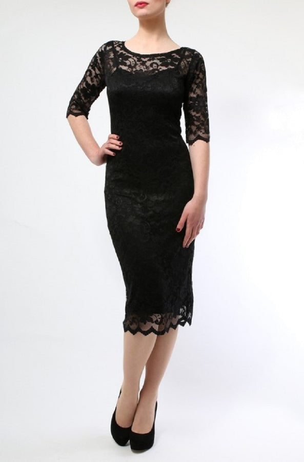 Scalloped Lace Midi Dress, Black