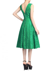 Lace Bonded Fit & Flare Dress, Green