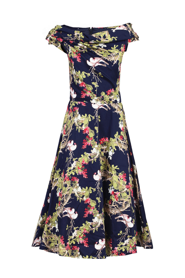 Floral Bardot Neck Dress, Navy Birds Print
