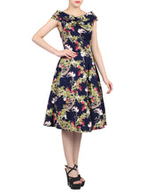 Load image into Gallery viewer, Floral Bardot Neck Dress, Navy Birds Print