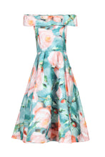 Load image into Gallery viewer, 3D Print Bardot Neck Prom Dress, Green Floral