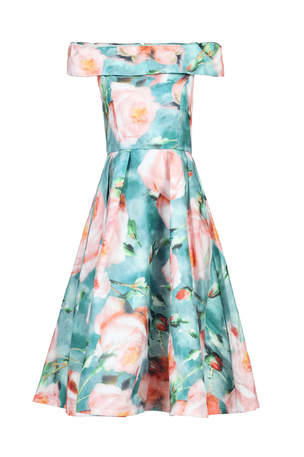 3D Print Bardot Neck Prom Dress, Green Floral