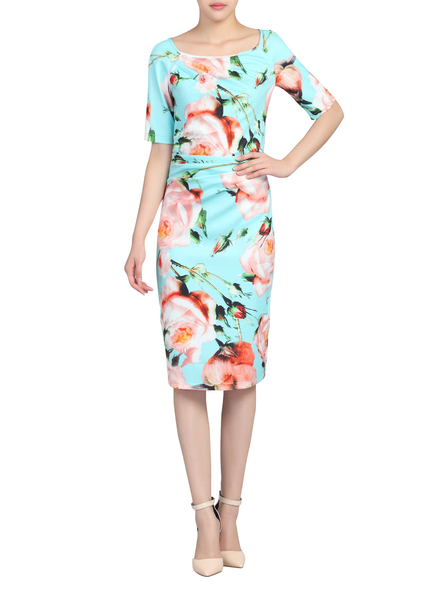 Half Sleeve Floral Print Ruched Dress, Green Floral